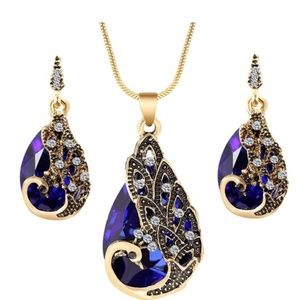 Jewelry - 18K Gold Plated Necklace Earrings Set Blue OR Red